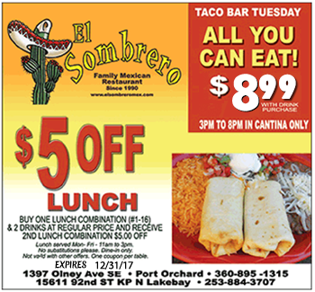 El Sombrero Mexican Restaurant Lunch coupon. Taco Tuesday all You can eat 6.95
