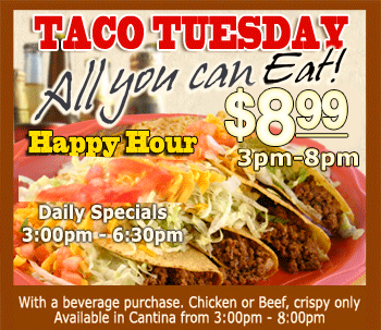Taco Tuesday at El Sombrero Mexican Restaurant 6.99